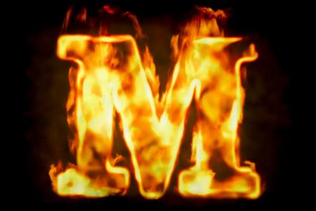 火の燃えている炎光の分離された黒い背景のレンダリング 3 D の文字 M 写真素材 - 86540701