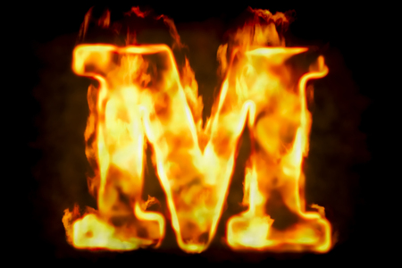 Fire letter M of burning flame light, 3D rendering isolated on black background Stock fotó