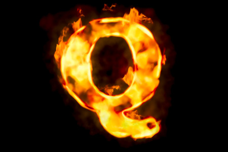 Fire letter Q of burning flame light, 3D rendering isolated on black background