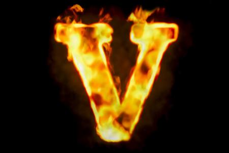 火の燃えている炎光の分離された黒い背景のレンダリング 3 D の手紙 V 写真素材 - 86540710
