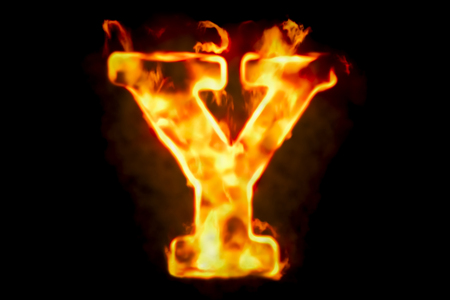 Fire letter Y of burning flame light, 3D rendering isolated on black background