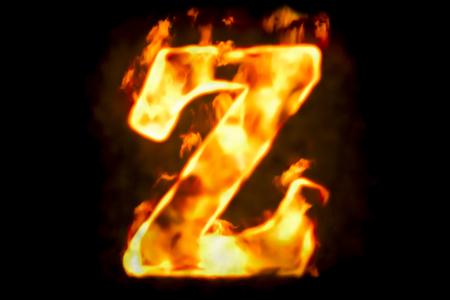 火の燃えている炎光の分離された黒い背景のレンダリング 3 D の文字 Z