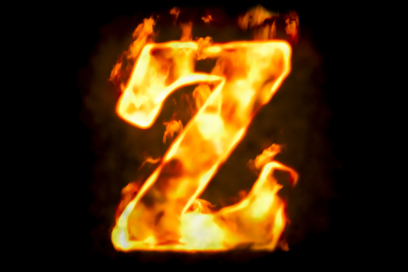Fire letter Z of burning flame light, 3D rendering isolated on black background