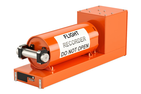 ブラック ボックスの分離の白い背景を描画の 3 D として知られているフライト データ レコーダー