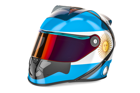 Racing helmet with flag of Argentina, 3D rendering isolated on white background Stock Photo