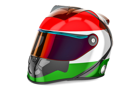 Racing helmet with flag of Hungary, 3D rendering isolated on white background