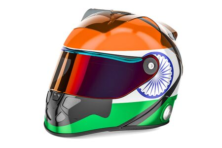 Racing helmet with flag of India, 3D rendering isolated on white background Stock Photo