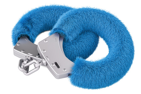 blue sexy fluffy handcuffs closeup, 3D rendering isolated on white background