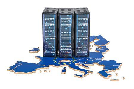 유럽 연합 개념, 3D 렌더링의 데이터 센터 서버 랙