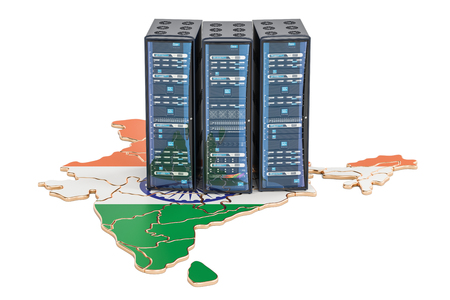 인도 개념, 3D 렌더링의 데이터 센터 서버 랙 스톡 콘텐츠