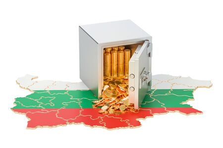 Safe box with golden coins on the map of Bulgaria, 3D rendering isolated on white background