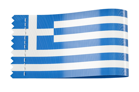 Clothing tag, label with flag of Greece. 3D rendering isolated on black background
