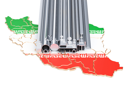 Production and trade of metal products in Iran, concept. 3D rendering isolated on white background