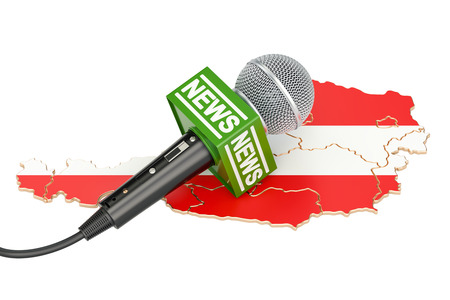 journalism: Austrian News concept, microphone news on the map of Austria. 3D rendering