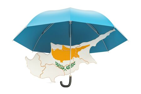 Cyprus map under umbrella. Security and protect or insurance concept, 3D rendering