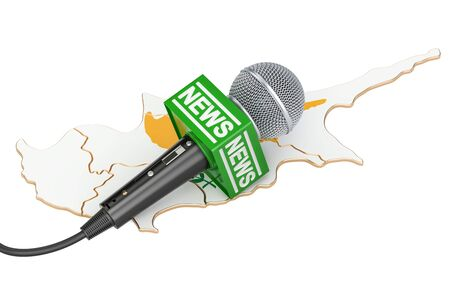 journalism: Cyprus News concept, microphone news on the map. 3D rendering