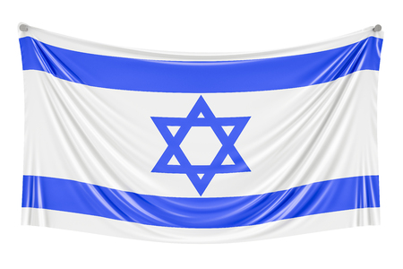 Israel flag hanging on the wall, 3D rendering