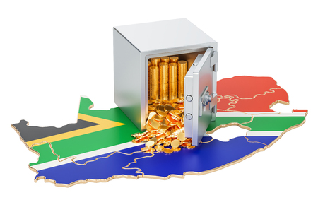 Safe box with golden coins on the map of South Africa, 3D rendering isolated on white background