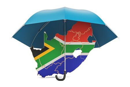 South Africa map under umbrella. Security and protect or insurance concept, 3D rendering