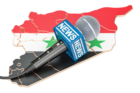 journalism: Syrian News concept, microphone news on the map of Syria. 3D rendering Stock Photo