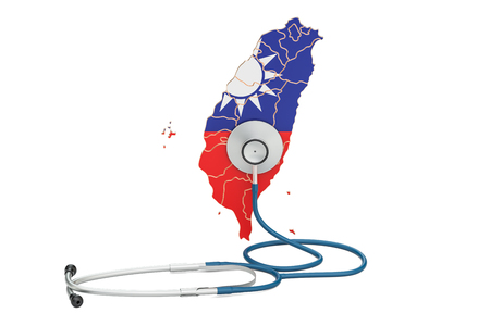 Taiwanese map with stethoscope, national health care concept, 3D rendering