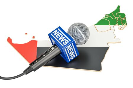 UAE News concept, microphone news on the map of United Arab Emirates. 3D rendering