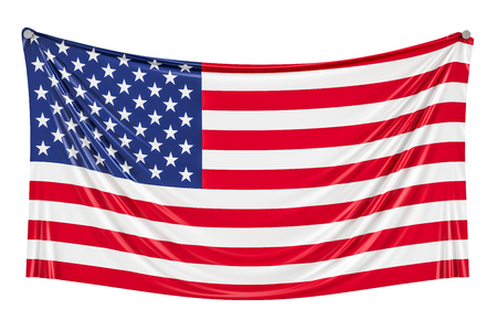 3 D の壁に掛かっているアメリカの国旗を表示