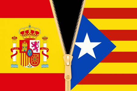 Spain and Catalonia, referendum and independence concept. 3D rendering
