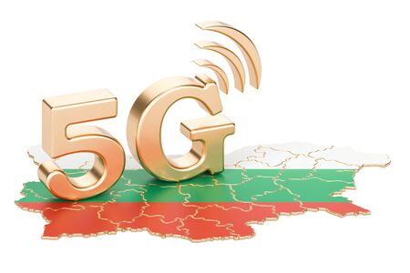 5G in Bulgaria concept, 3D rendering isolated on white background