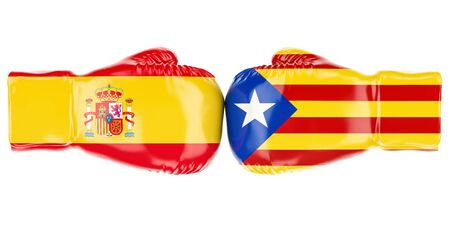 politic: Boxing gloves with Spain and Catalonia flags, conflict concept. 3D rendering