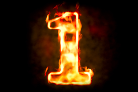 numeric: Fire number 1 of burning flame light, 3D rendering Stock Photo