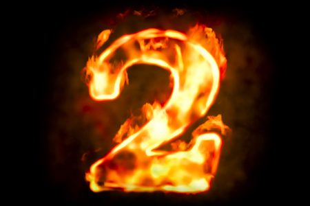 numeric: Fire number 2 of burning flame light, 3D rendering