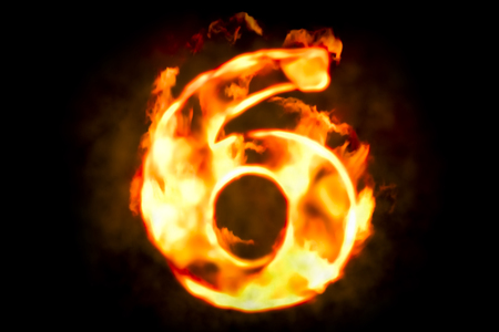 six objects: Fire number 6 of burning flame light, 3D rendering