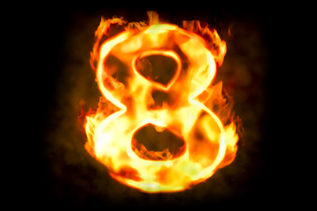 Fire number 8 of burning flame light, 3D rendering