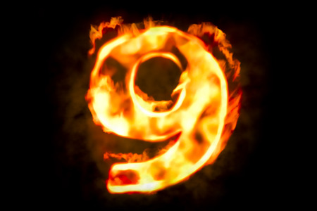 Fire number 9 of burning flame light, 3D rendering