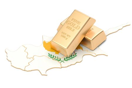 Golden reserves of Cyprus concept, 3D rendering isolated on white background