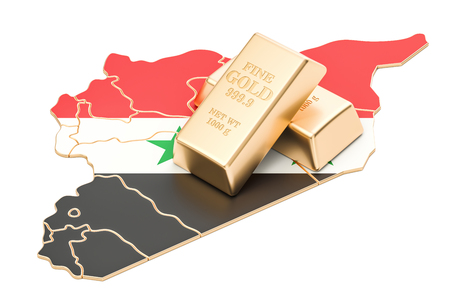 Golden reserves of Syria concept, 3D rendering isolated on white background Stock Photo
