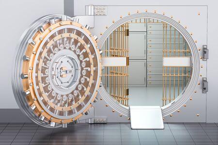 Open Bank Vault Door, 3D rendering Stock Photo