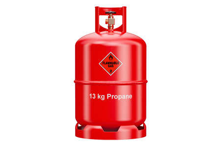 Propane cylinder with compressed gas, 3D rendering isolated on white background