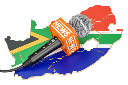 South Africa News concept, microphone news on the map. 3D rendering Stock Photo