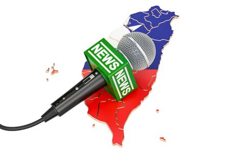 journalism: Taiwan News concept, microphone news on the map. 3D rendering