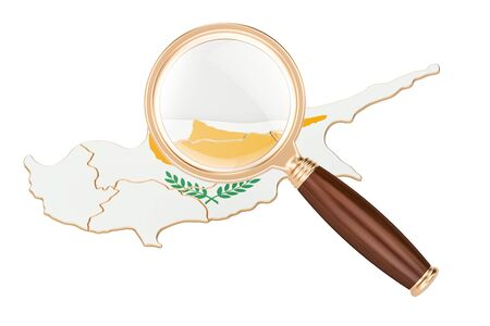 website backgrounds: Cyprus under magnifying glass, analysis concept, 3D rendering isolated on white background