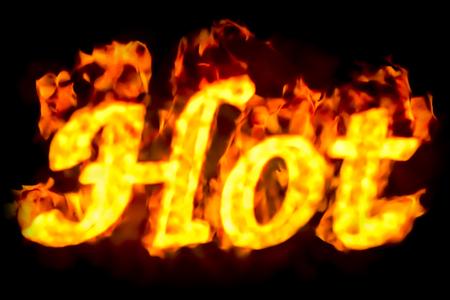 Fire hot inscription, 3D rendering