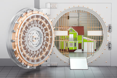 residential: Home inside bank vault. House security and protection concept, 3D rendering Stock Photo