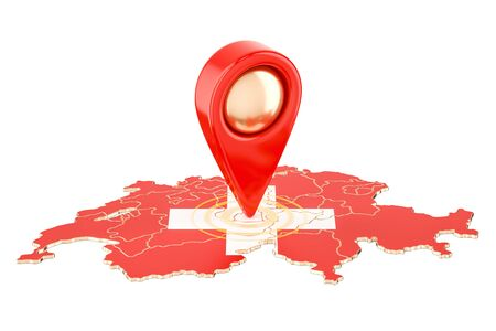 Map pointer on the map of Switzerland, 3D rendering isolated on white background