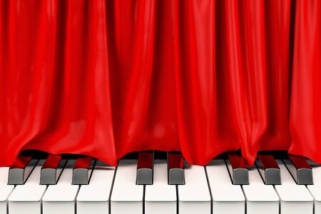 Piano keyboard with red curtain, music concert concept. 3D rendering