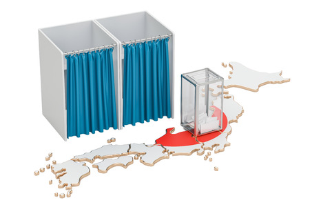 Japanese election concept, ballot box and voting booths on the map of Japan, 3D rendering