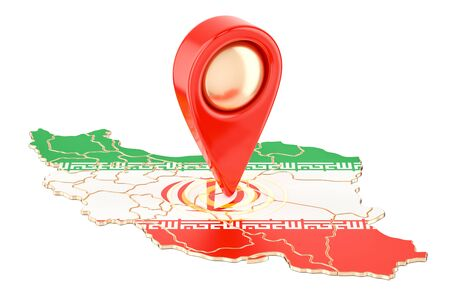 Map pointer on the map of Iran, 3D rendering isolated on white background