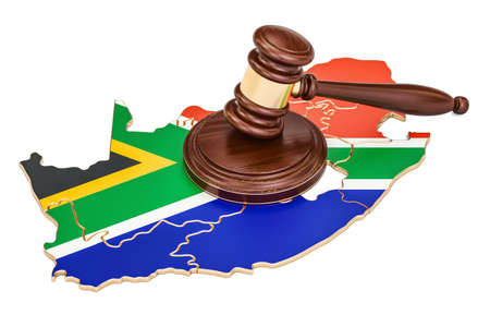 Wooden Gavel on map of South Africa, 3D rendering isolated on white background Stock Photo