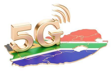 5G in het concept van Zuid-Afrika, het 3D teruggeven op witte achtergrond wordt geïsoleerd die
